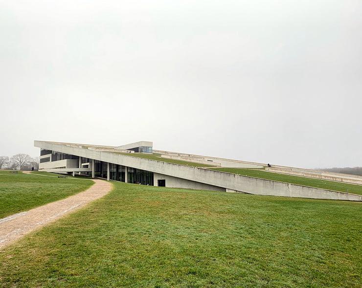 The exterior of Moesgaard Museum in Aarhus, Denmark