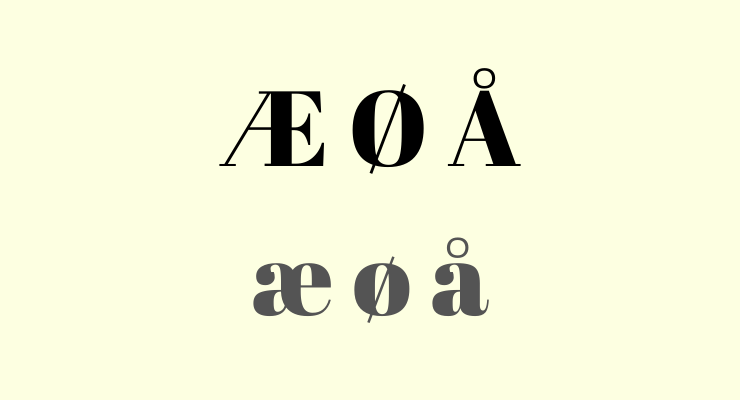 Three different Norwegian vowels æ ø å