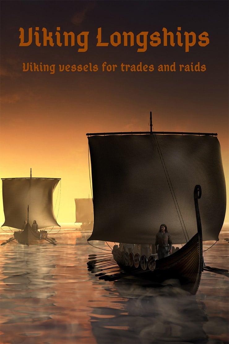 Viking longships floating on water