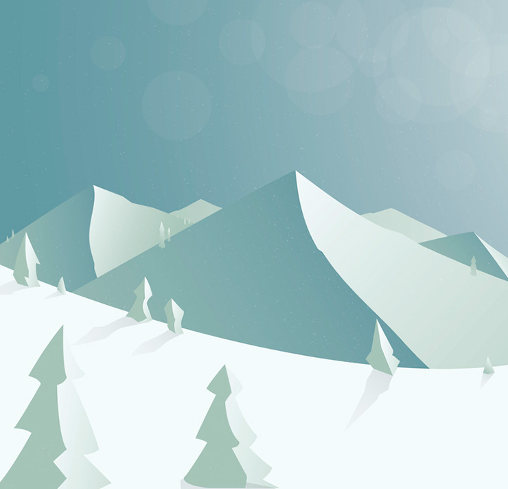 A vector image of snow-covered landscape and mountains