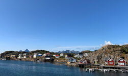 View of Skrova island from the Lofoten ferry