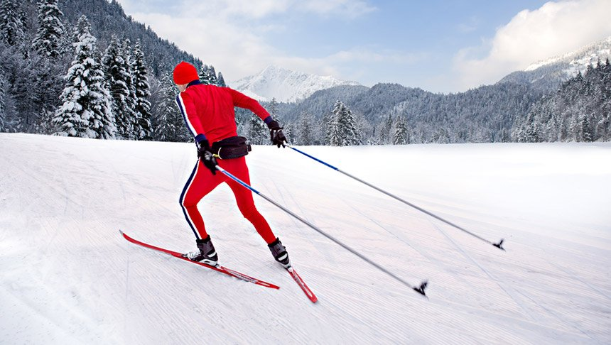 A cross-country skier in the Norwegian countryside