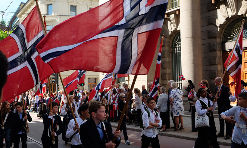 Giant Norway flag on 17 May parade in Oslo