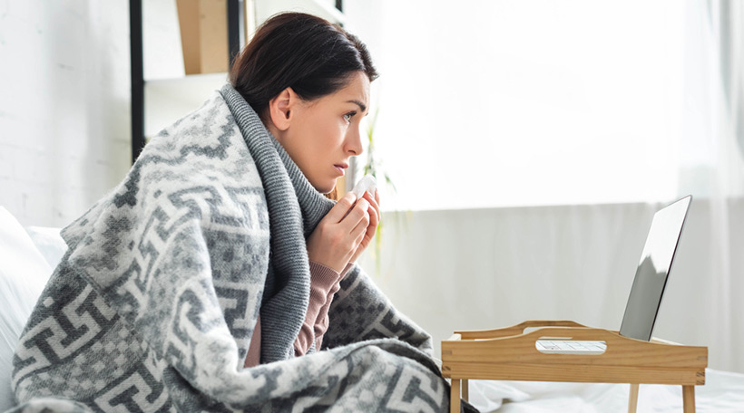 Ill lady self-reporting symptoms online