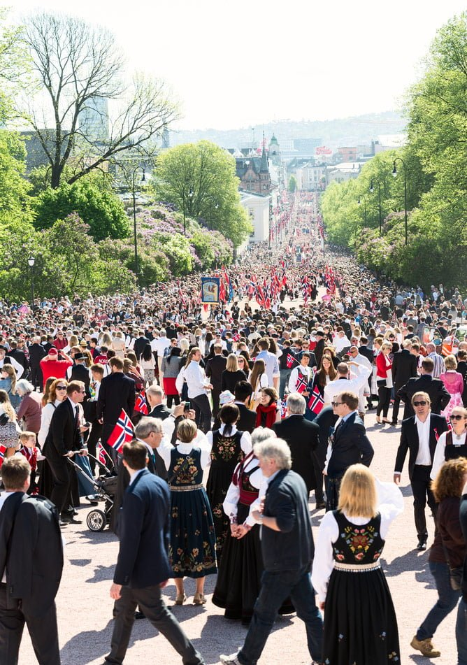 Crowds of people in Oslo for Norway's National Day celebrations on May 17