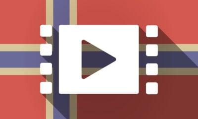 Play symbol on a Norwegian flag