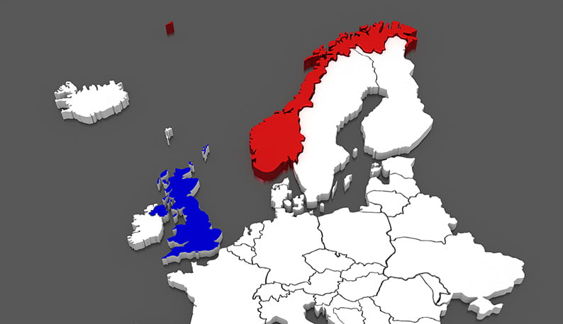 Norway and UK highlighted on a map of Europe