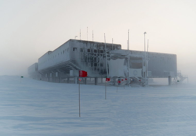The Amundsen-Scott South Pole Station in Antarctica during a snowstorm