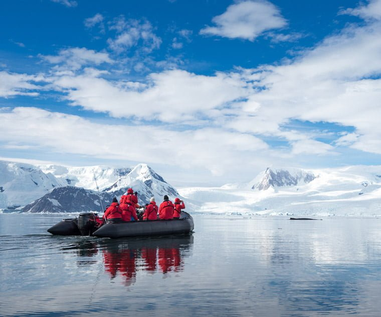 Tourists following in the footsteps of Scott and Amundsen