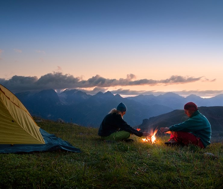 Couple camping in the Norwegian mountains