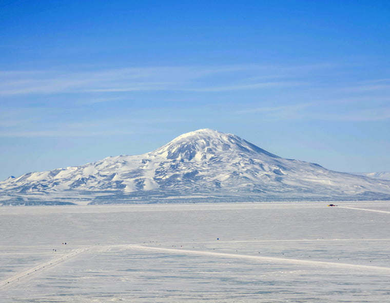 The Mount Erebus volcano on Antarctica