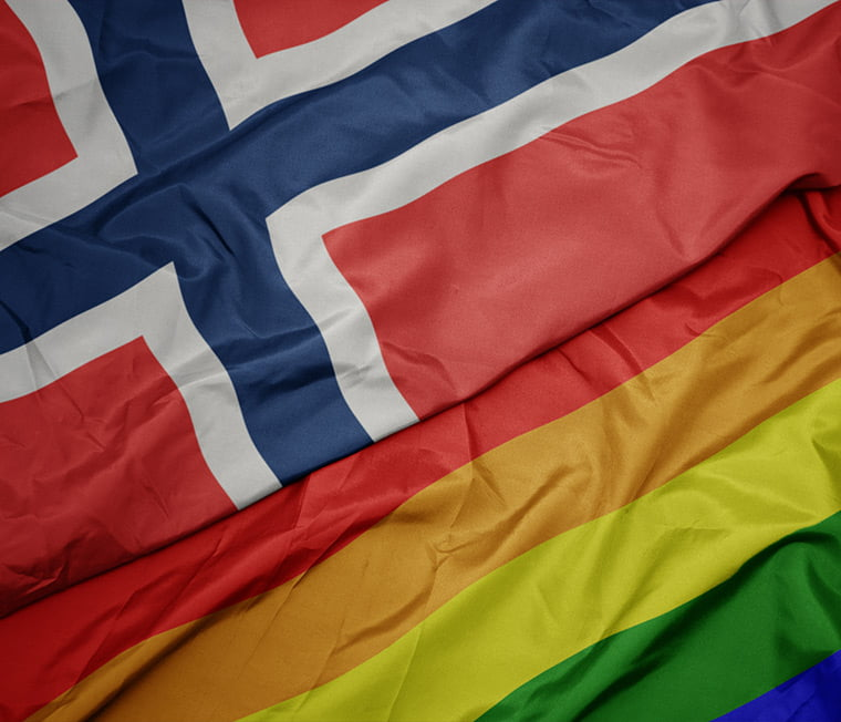 Norway flag and rainbow flag side by side