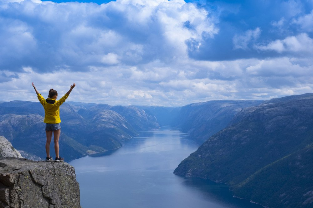Hiker looking over the Lysefjord near Stavanger, Norway