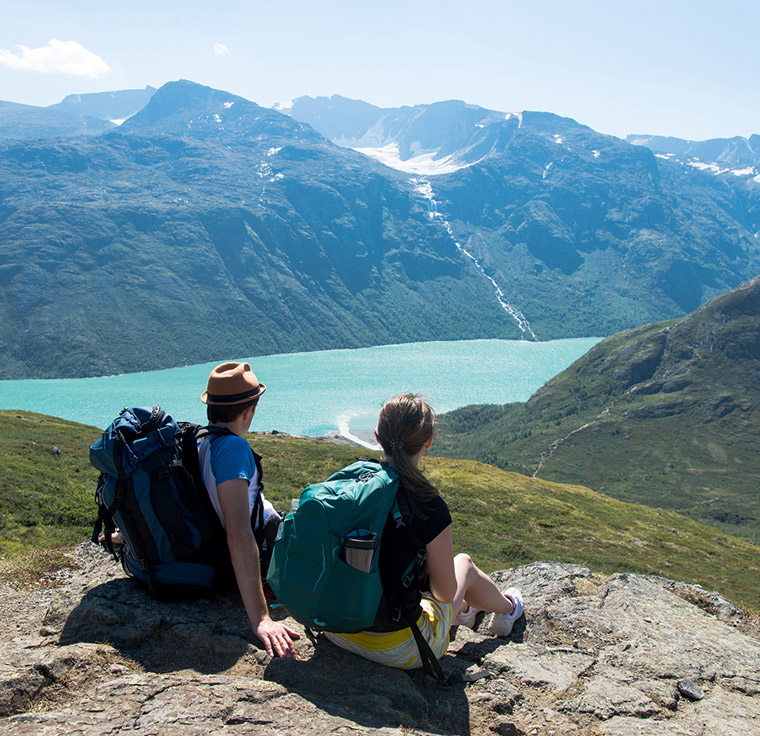 Hikers view of fjord in Norway