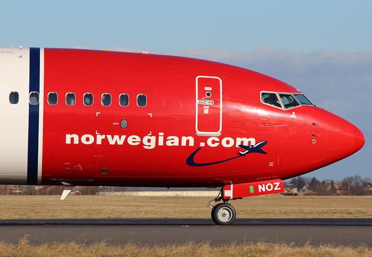 Norwegian jet plane in Norway