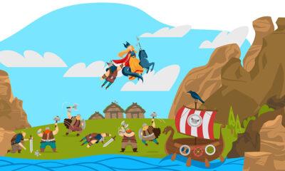 Cartoon depicting Norse and Norwegian mythology