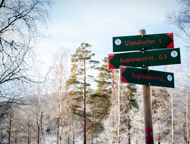 Signposts for hikers at Sognsvann in Oslo