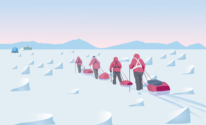 Polar exploration concept to the South Pole