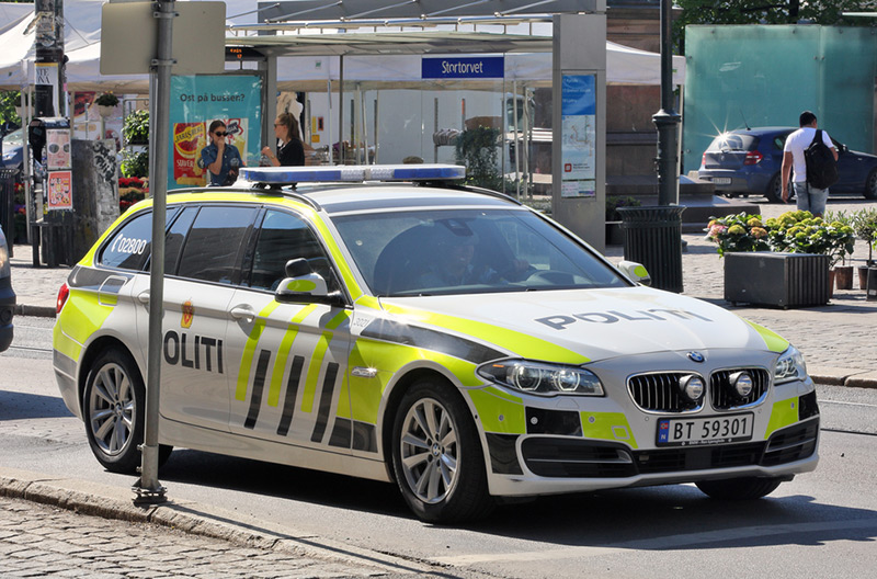 A police car on the streets of Oslo, Norway
