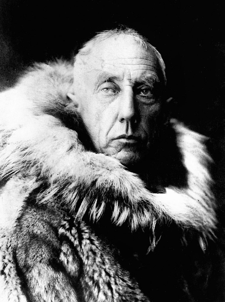 Norwegian polar explorer Roald Amundsen in fur skins