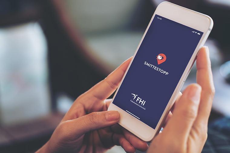 Screenshot of the Smittestopp app