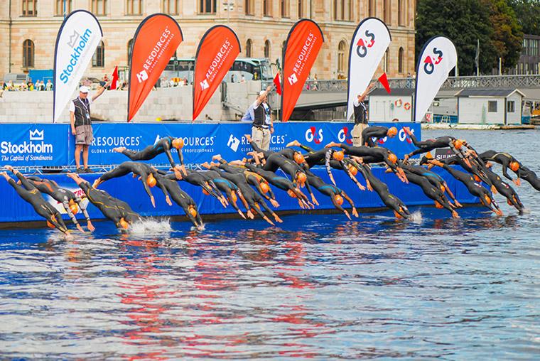 Triathlon swimming in Stockholm, Sweden