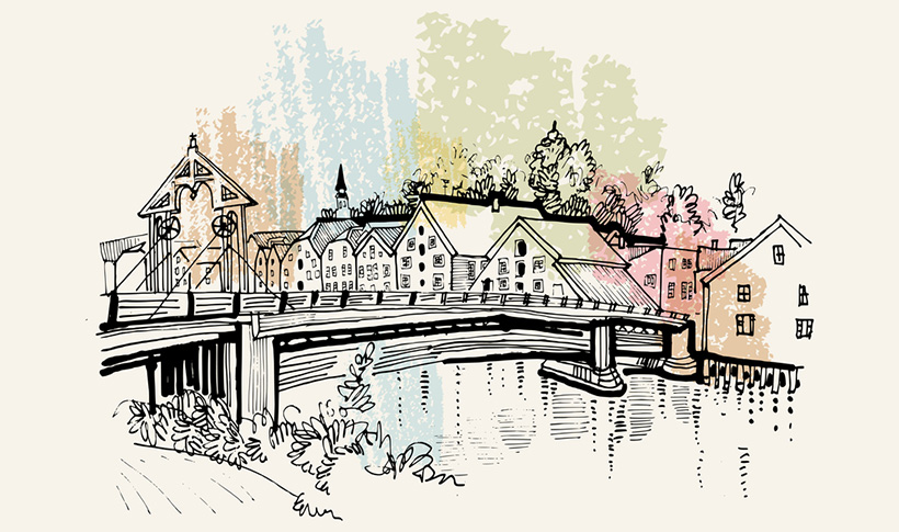Illustration of Old Town Bridge in Trondheim, Norway
