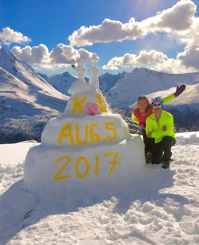 Wedding cake snow sculpture in Norway