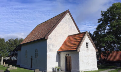 The exterior of Giske Church near Ålesund in western Norway
