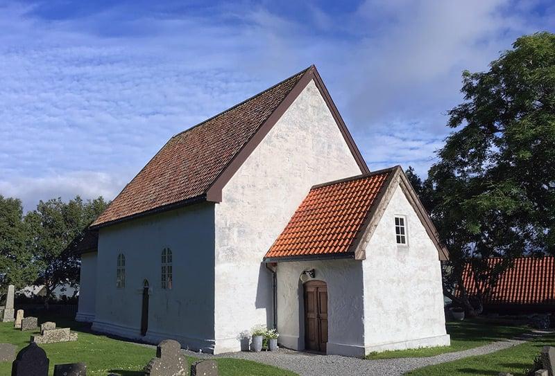The exterior of Giske Church near Ålesund in western Norway