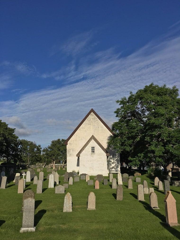 The outside of Giske church in western Norway