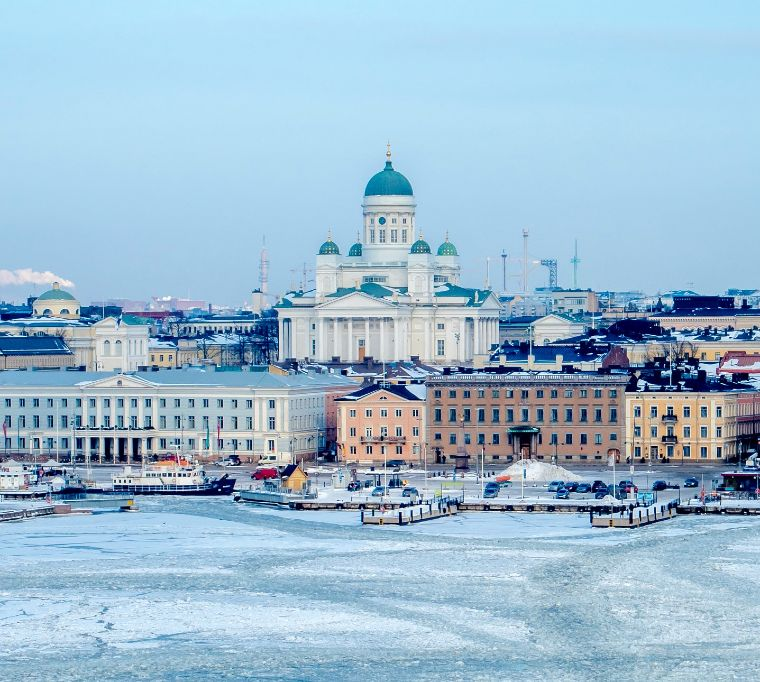 The skyline of Helsinki, Finland