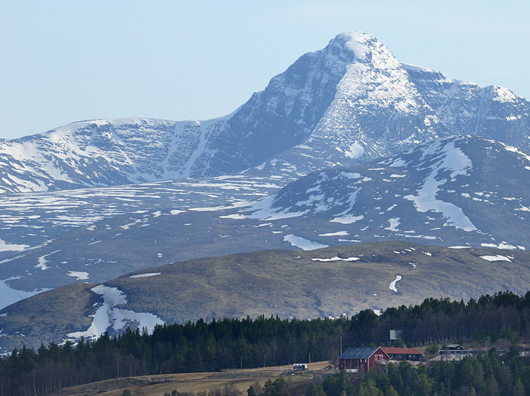 View towards Høgronden (2118m) from the mining site at Folldal Verk.