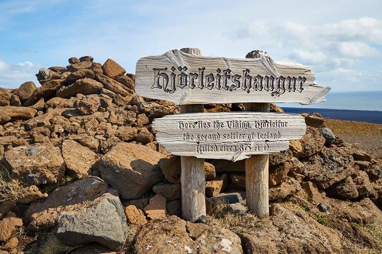 A Viking grave marker on the Hjörleifshöfði hike in Iceland