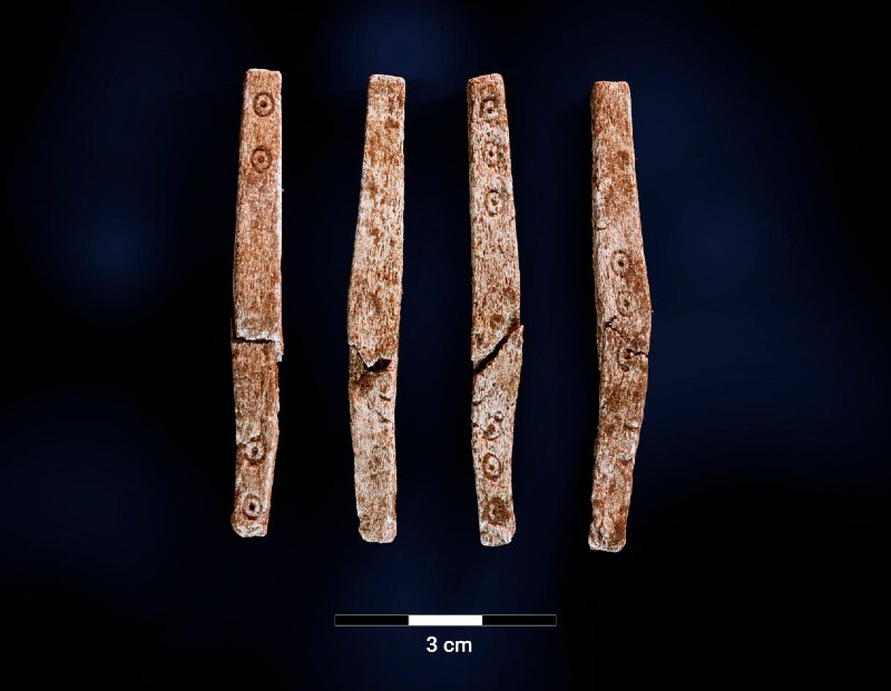 The four elongated gaming pieces or dice found in Norway