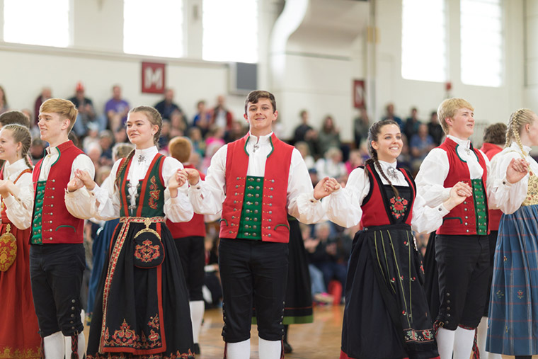 Young American people dressing up for a dance at a Norway Constitution Day celebration in Wisconsin, USA