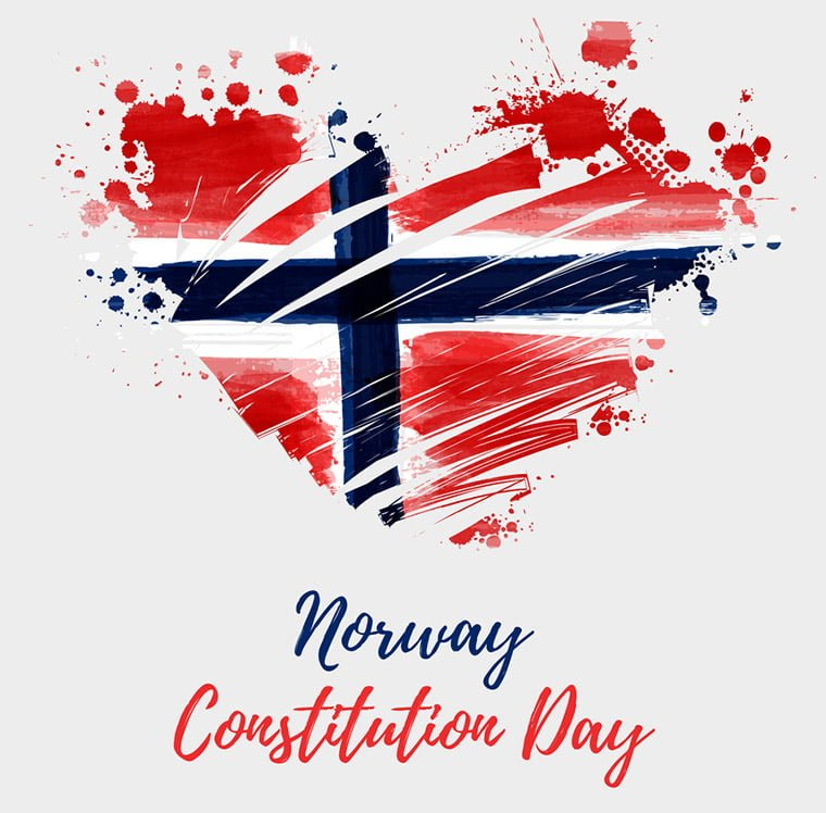 Norway Constitution Day with a heart-shaped Norwegian flag