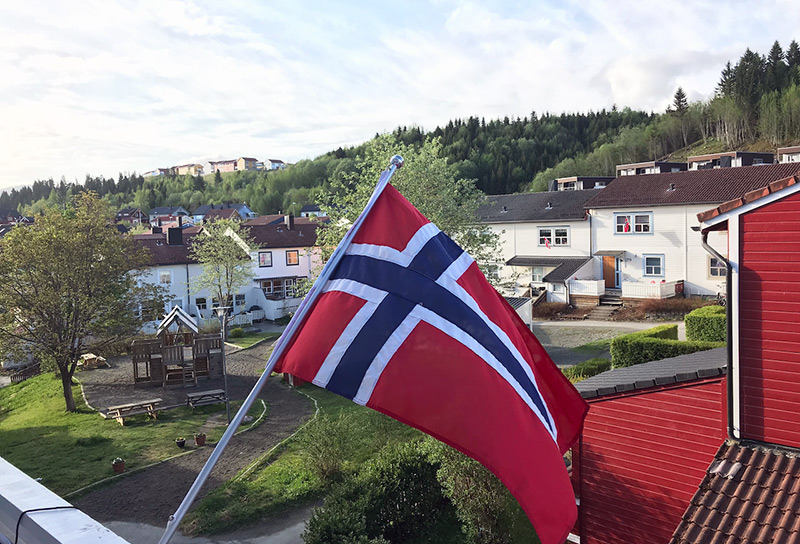 Flag at home on Norway National Day