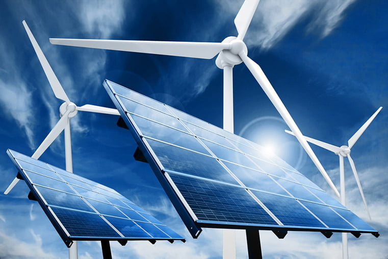 Renewable energy projects including solar panels and wind turbines