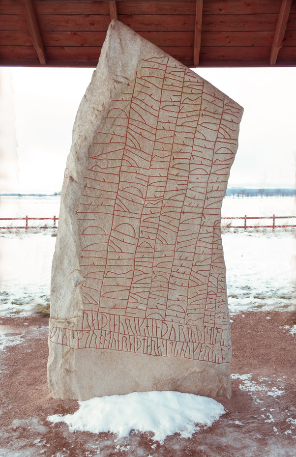 The famous Viking runestone at Rök, Sweden