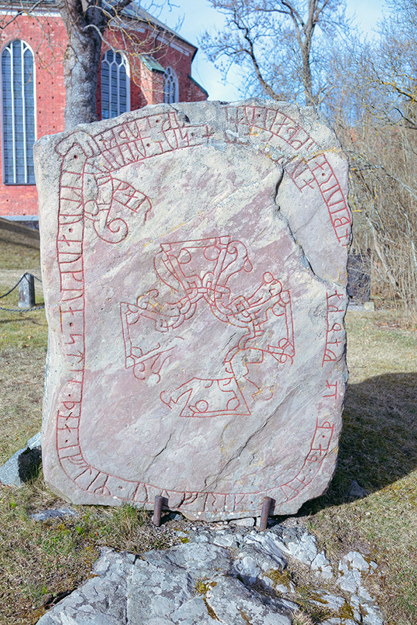 Runestone in the grounds of Strängnäs Cathedral in Strängnäs, Sweden