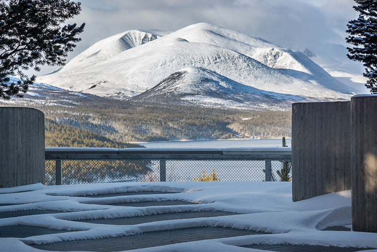 The Sohlbergplassen rest stop and viewpoint at Rondane National Park, Norway