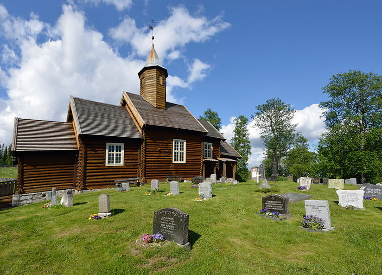 The exterior of Sollia Church in Rondane National Park, Norway