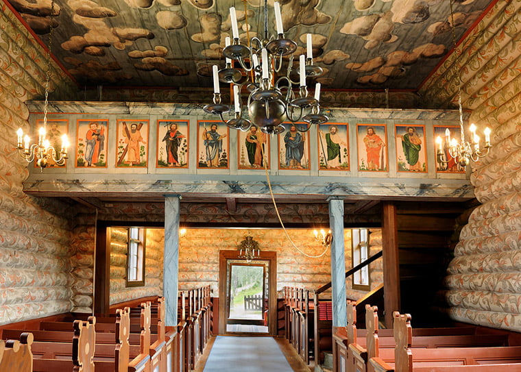 The striking interior of the timber Sollia Church built in 1738.