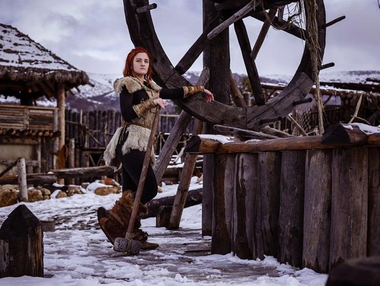 Traditional Viking settlement with Viking women