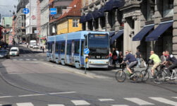 A tram and bicycles in downtown Oslo, Norway