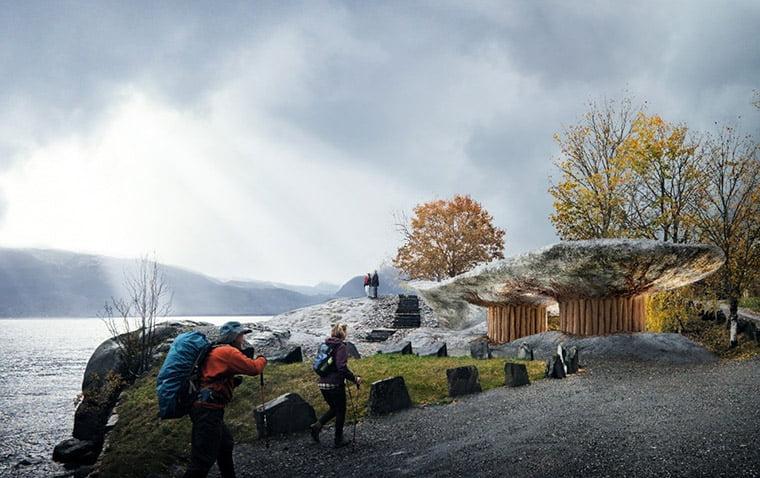 Tyrvefjøra, Hardanger: A new restroom facility at a fjordside parking area.
