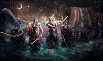 Illustration of Viking warriors and a longship
