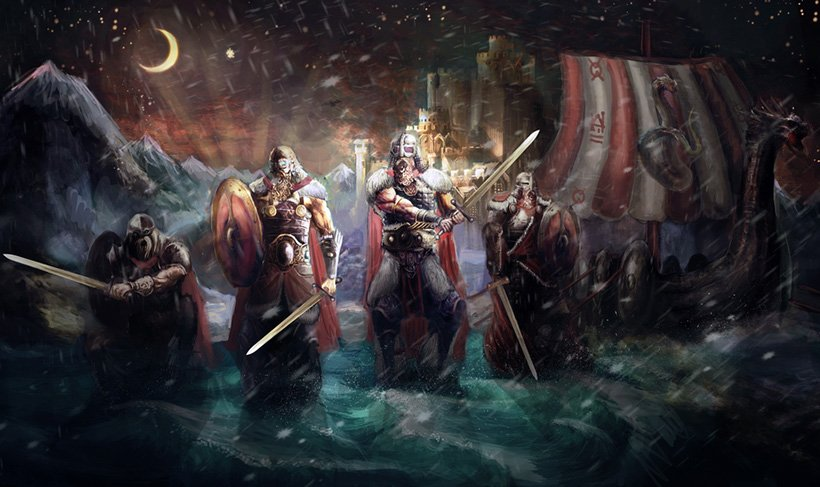 Illustration of Viking warriors and a longship