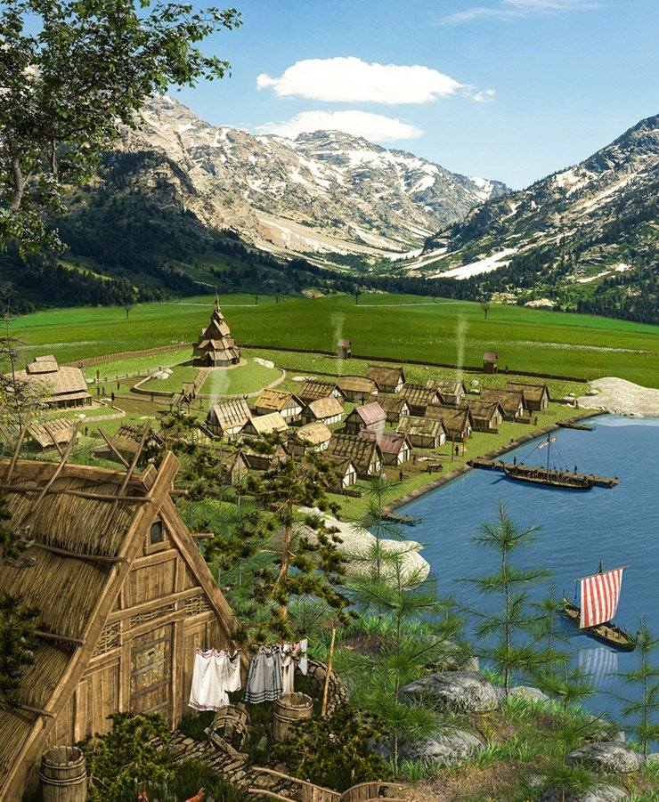 A 3D render of a historic Viking settlement in Norway